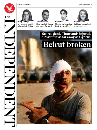 The Independent Newspaper Front Page (UK) for 5 August 2020