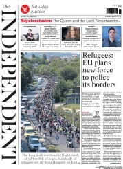 The Independent (UK) Newspaper Front Page for 5 September 2015