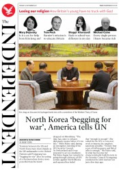 The Independent (UK) Newspaper Front Page for 5 September 2017