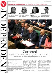 The Independent (UK) Newspaper Front Page for 5 September 2019