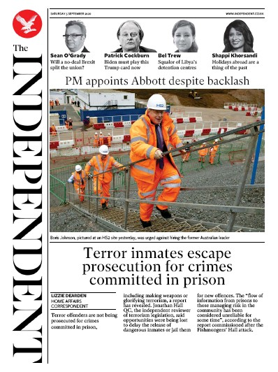 The Independent Newspaper Front Page (UK) for 5 September 2020