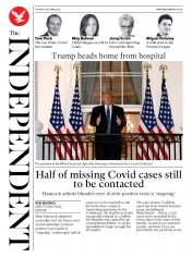 The Independent front page for 6 October 2020