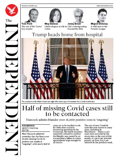 The Independent Newspaper Front Page (UK) for 6 October 2020