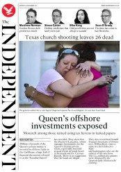 The Independent (UK) Newspaper Front Page for 6 November 2017