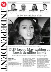 The Independent (UK) Newspaper Front Page for 6 December 2017
