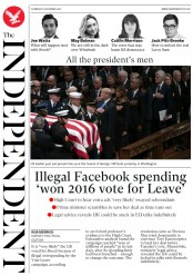 The Independent (UK) Newspaper Front Page for 6 December 2018