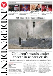 The Independent (UK) Newspaper Front Page for 6 January 2018