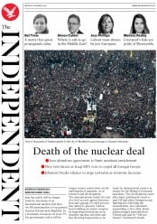 The Independent (UK) Newspaper Front Page for 6 January 2020