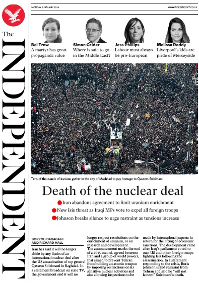 The Independent Newspaper Front Page (UK) for 6 January 2020