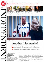 The Independent (UK) Newspaper Front Page for 6 March 2018