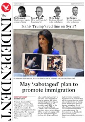 The Independent (UK) Newspaper Front Page for 6 April 2017