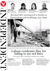 The Independent () Newspaper Front Page for 6 April 2019