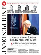 The Independent (UK) Newspaper Front Page for 6 April 2021