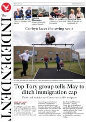The Independent (UK) Newspaper Front Page for 6 May 2017