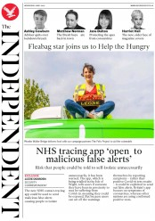 The Independent (UK) Newspaper Front Page for 6 May 2020
