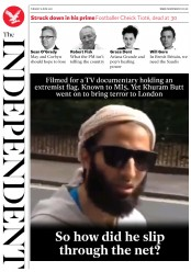 The Independent (UK) Newspaper Front Page for 6 June 2017