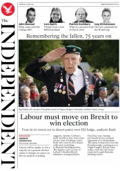 The Independent (UK) Newspaper Front Page for 6 June 2019
