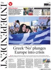 The Independent (UK) Newspaper Front Page for 6 July 2015