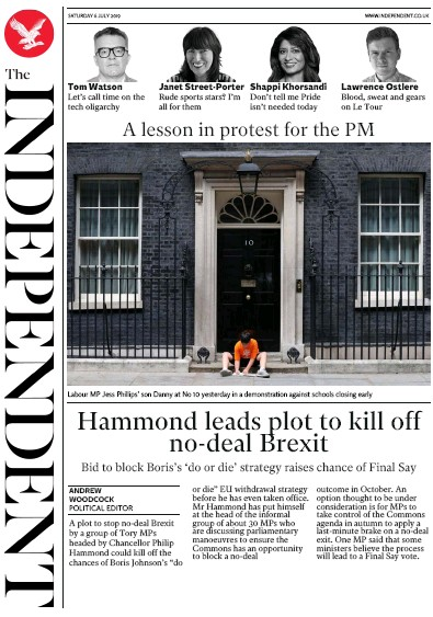 The Independent Newspaper Front Page (UK) for 6 July 2019