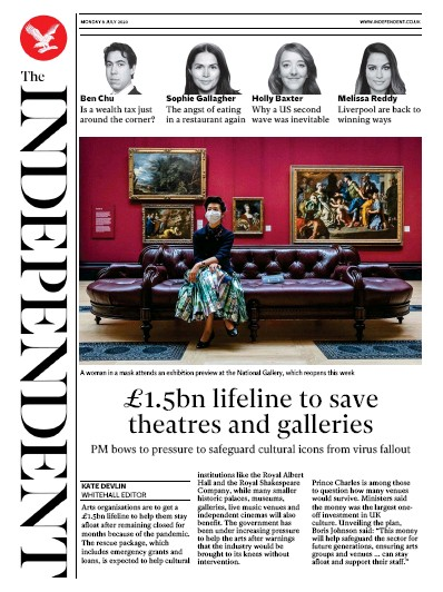 The Independent Newspaper Front Page (UK) for 6 July 2020