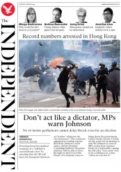 The Independent (UK) Newspaper Front Page for 6 August 2019