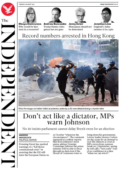 The Independent Newspaper Front Page (UK) for 6 August 2019