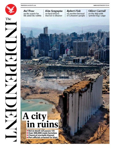 The Independent Newspaper Front Page (UK) for 6 August 2020