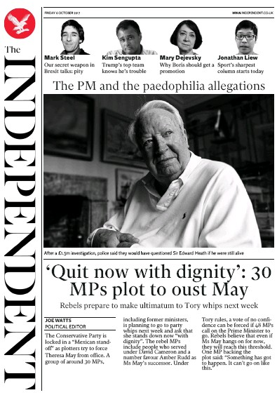 The Independent Newspaper Front Page (UK) for 7 October 2017