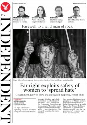 The Independent () Newspaper Front Page for 7 October 2019
