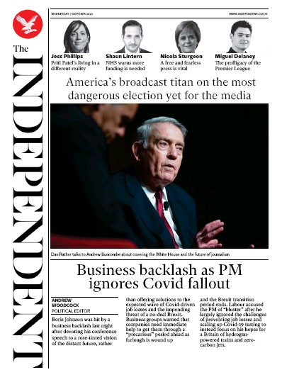 The Independent Newspaper Front Page (UK) for 7 October 2020