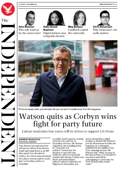 The Independent Newspaper Front Page (UK) for 7 November 2019