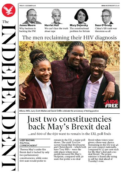 The Independent Newspaper Front Page (UK) for 7 December 2018