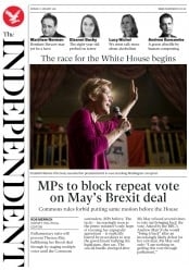 The Independent (UK) Newspaper Front Page for 7 January 2019