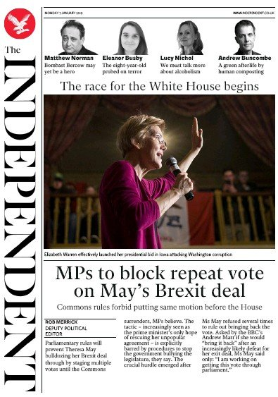 The Independent Newspaper Front Page (UK) for 7 January 2019