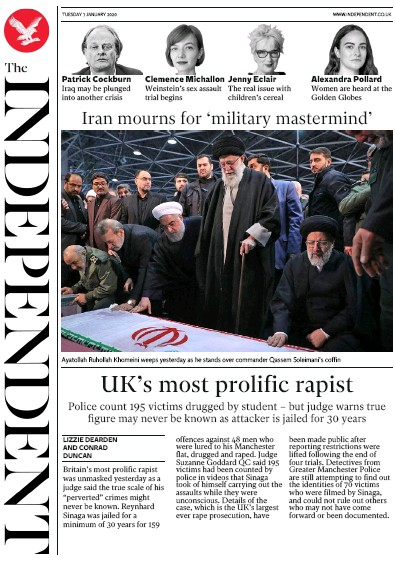 The Independent Newspaper Front Page (UK) for 7 January 2020