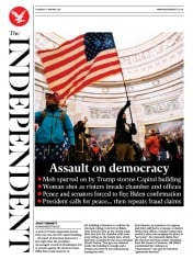 The Independent (UK) Newspaper Front Page for 7 January 2021