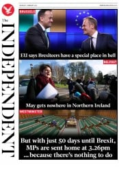 The Independent (UK) Newspaper Front Page for 7 February 2019