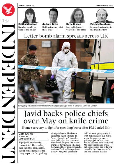 The Independent Newspaper Front Page (UK) for 7 March 2019