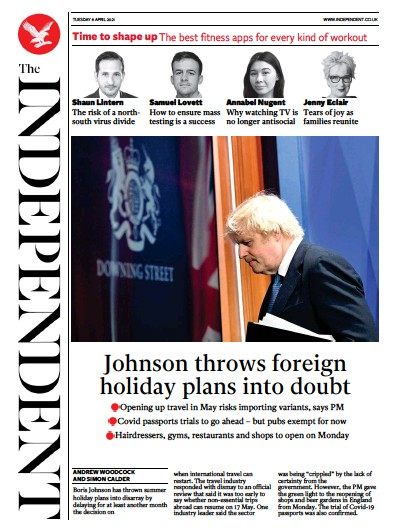 The Independent Newspaper Front Page (UK) for 7 April 2021