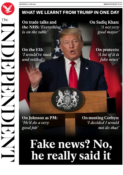 The Independent Newspaper Front Page (UK) for 7 June 2019