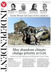 The Independent (UK) Newspaper Front Page for 7 July 2017