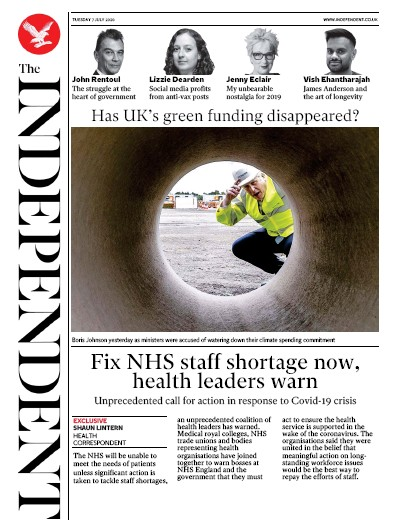 The Independent Newspaper Front Page (UK) for 7 July 2020