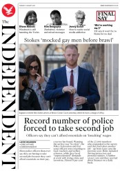 The Independent (UK) Newspaper Front Page for 7 August 2018