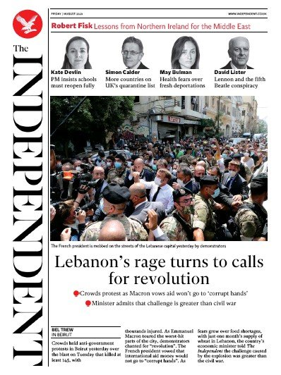 The Independent Newspaper Front Page (UK) for 7 August 2020