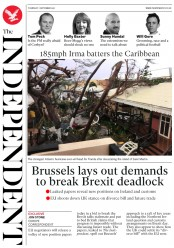 The Independent (UK) Newspaper Front Page for 7 September 2017
