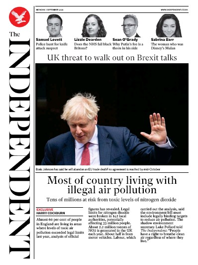 The Independent Newspaper Front Page (UK) for 7 September 2020