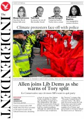 The Independent () Newspaper Front Page for 8 October 2019