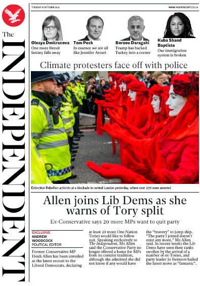 The Independent Newspaper Front Page (UK) for 8 October 2019