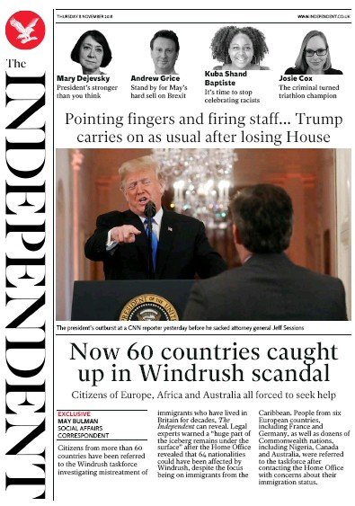 The Independent Newspaper Front Page (UK) for 8 November 2018