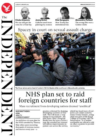 The Independent Newspaper Front Page (UK) for 8 January 2019